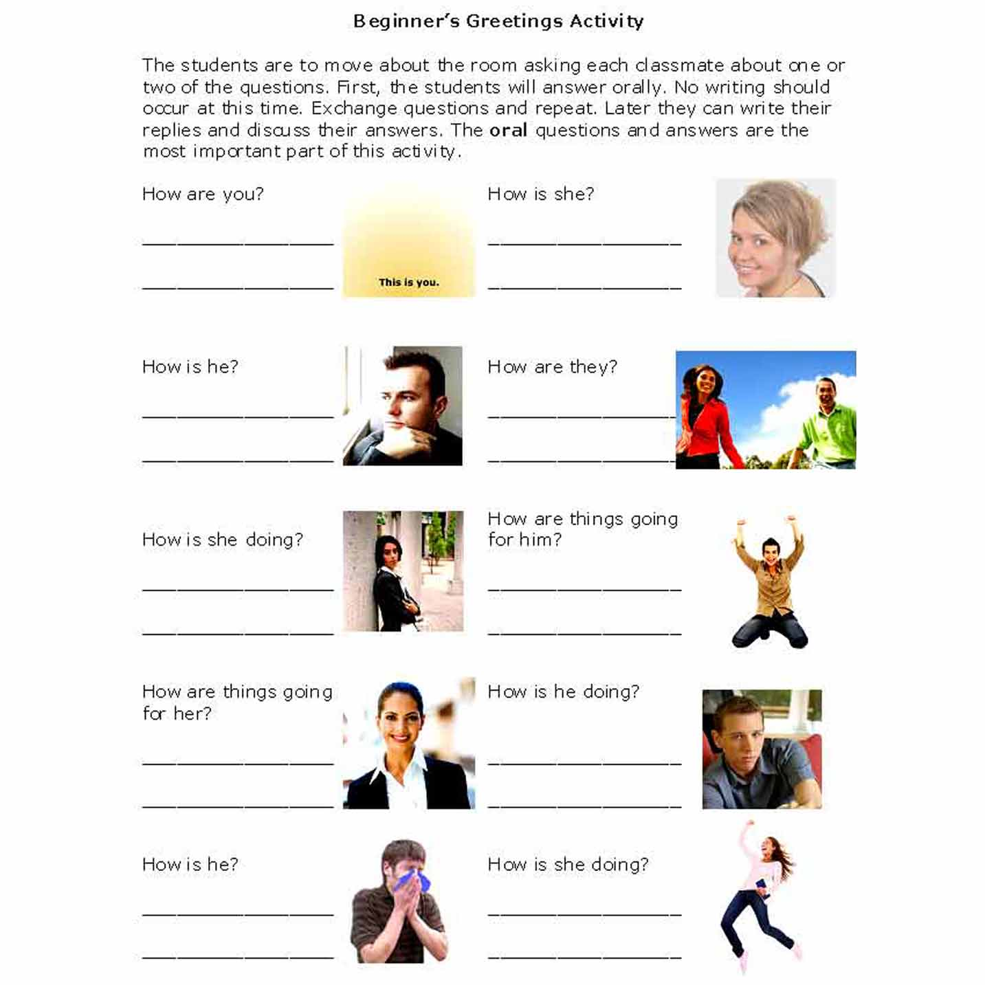 Activities that introduce beginners to friendly greetings greetings activity m4hsunfo