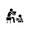 Parent Reading A Story To A Child Black Icon, Vector Sign On Iso